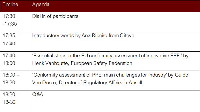 PPE webinar agenda